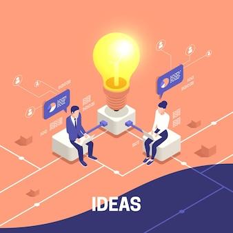 Izometryczny schemat blokowy pomysłów biznesowych