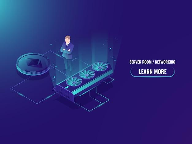 Izometryczny serwer farmy wydobywczej, wyciąg górniczy kryptowalut, serwerownia