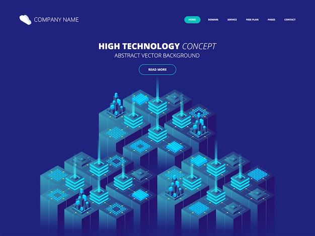 Izometryczny serwerownia i koncepcja przetwarzania dużych danych, centrum danych i ikona bazy danych, cyfrowa technologia informacyjna. abstrakcyjne tło