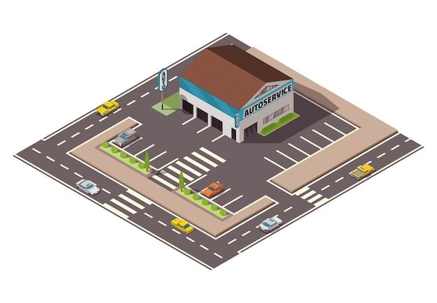 Izometryczny serwis samochodowy. koncepcja widoku z góry serwisu samochodowego z ulicą i miejscem parkingowym