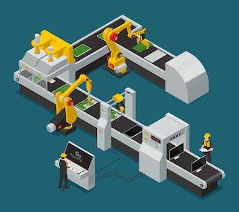 Izometryczny skład pracowników fabryki kolorowych urządzeń elektronicznych z przepływem pracy w fabryce