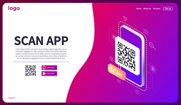 Izometryczny skanowanie kodu qr na smartfonie strona pobierania aplikacji mobilnej baner internetowy koncepcja strony internetowej