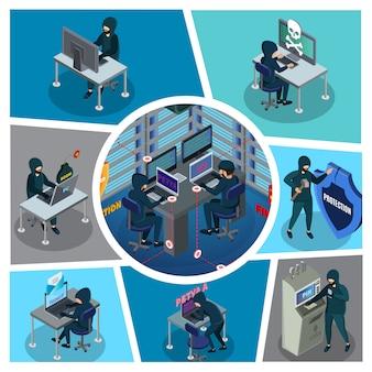 Izometryczny skład aktywności hakera z serwerami bankomatów laptopa cyber-złodzieja w zepsutej osłonie centrum danych