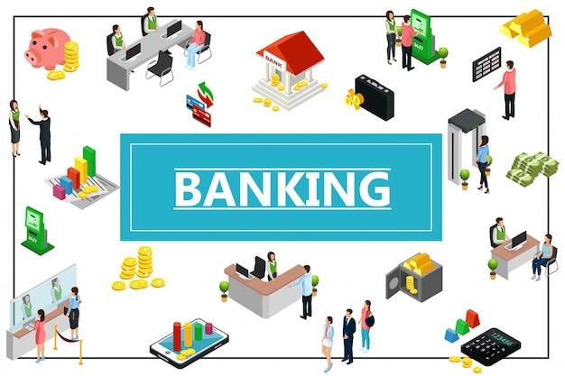 Izometryczny skład bankowy z budynkiem pieniądze monety bezpieczne złote sztabki kalkulator bankomat skarbonka recepcjonistka kasjer konsultant menedżerowie w ramce