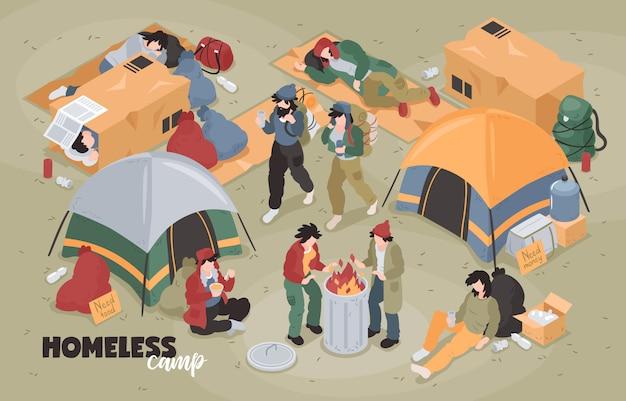 Izometryczny skład bezdomnych z edytowalny tekst i widok obozu dla uchodźców z namioty i ludzkie charaktery ilustracji wektorowych