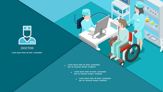 Izometryczny skład centrum medycznego z lekarzem konsultującym pacjenta na wózku inwalidzkim i lekarstwach na ilustracji półek