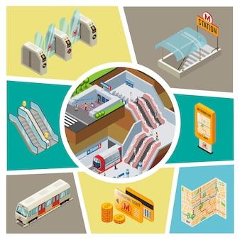 Izometryczny skład elementów metra z pasażerami stacji metra kołowrotki podziemne wejście tablica informacyjna mapa nawigacyjna monety bilety transportowe schody ruchome