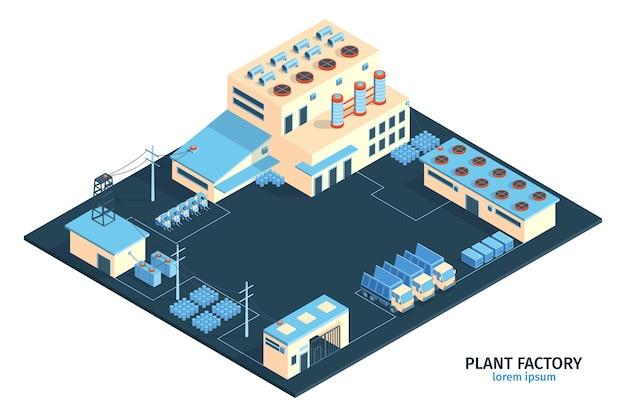 Izometryczny skład fabryki zakładów przemysłowych z edytowalnym tekstem i zakresem budynków fabrycznych z ilustracją ciężarówek towarowych,