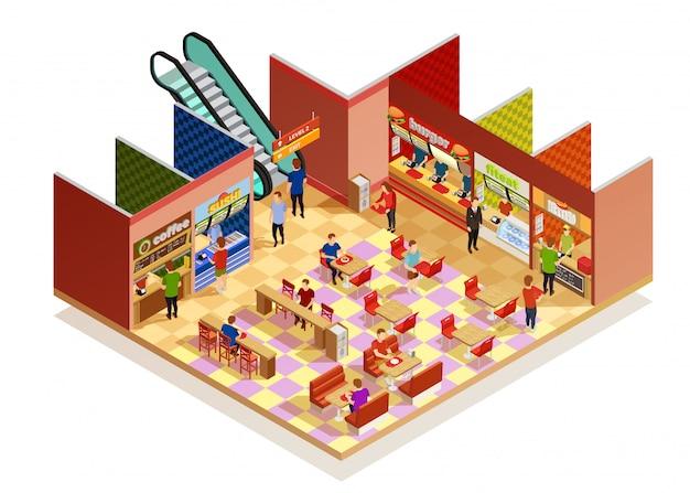 Izometryczny skład food court