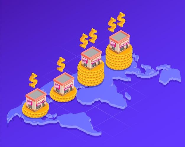 Izometryczny skład franczyzy z ilustracją symboli lokalizacji i ceny