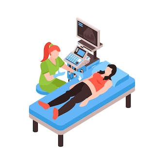 Izometryczny skład gastroenterologii z lekarzem przesiewającym pacjenta z ilustracją usg