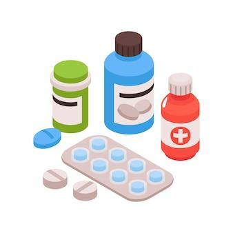 Izometryczny skład gastroenterologii z widokiem leków z ilustracją probówek i pigułek