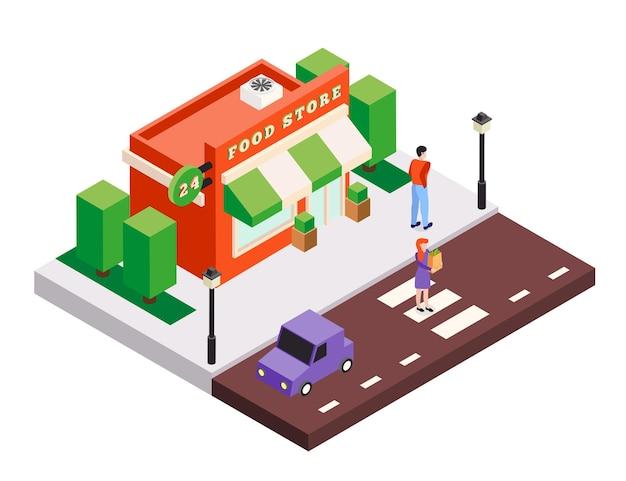 Izometryczny skład ilustracji budynków miasta z małym sklepem spożywczym, kwadratowymi drzewami, samochodami i postaciami ludzkimi