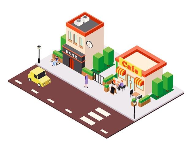 Izometryczny skład ilustracji budynków miasta z widokiem ulicznej kawiarni i domów bankowych z postaciami ludzi