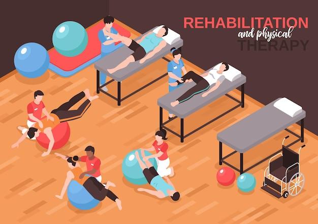 Izometryczny skład ilustracji fizjoterapii rehabilitacji z tekstem i wnętrzem sali do ćwiczeń fizycznych z ludźmi