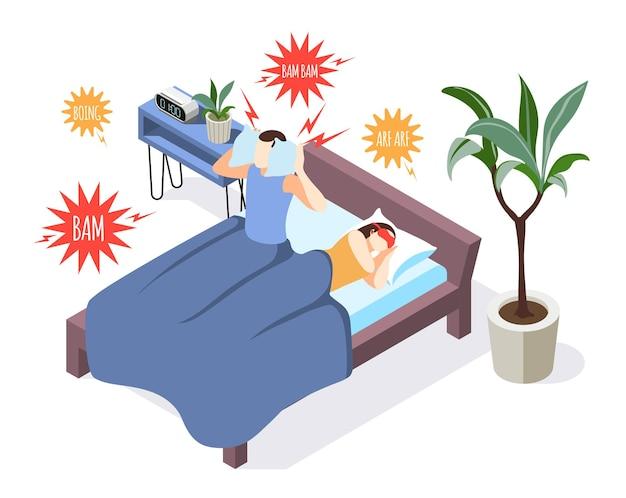 Izometryczny skład ilustracji zanieczyszczenia hałasem z bezsennym mężczyzną w łóżku zamykającym uszy
