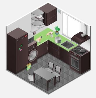 Izometryczny skład izby wnętrza