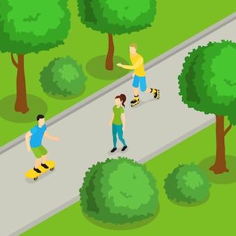 Izometryczny skład jazdy w parku