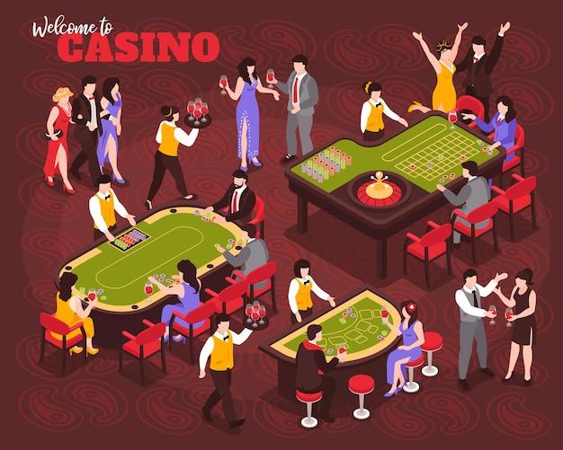 Izometryczny skład kasyna z ludzkimi postaciami celebrytów i bogatymi ludźmi grającymi w ruletkę z ozdobną ilustracją tekstową