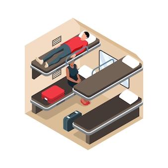 Izometryczny skład kolejowy z widokiem przekroju w wagonie pociągu dalekobieżnego z miejscami do spania i ilustracją pasażerów