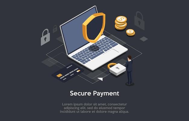 Izometryczny skład koncepcji bezpiecznych płatności. laptop z zamkiem i osłoną bezpieczeństwa człowieka stojącego w pobliżu plansza