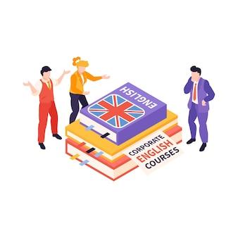Izometryczny skład kursów w centrum językowym z kilkoma książkami po angielsku otoczonymi ilustracjami ludzi