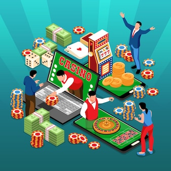 Izometryczny skład kwadratu kasyna online z ludzkimi postaciami, stosami kart z żetonami i ilustracjami urządzeń elektronicznych
