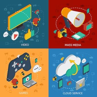 Izometryczny skład kwadratu nowoczesnej technologii