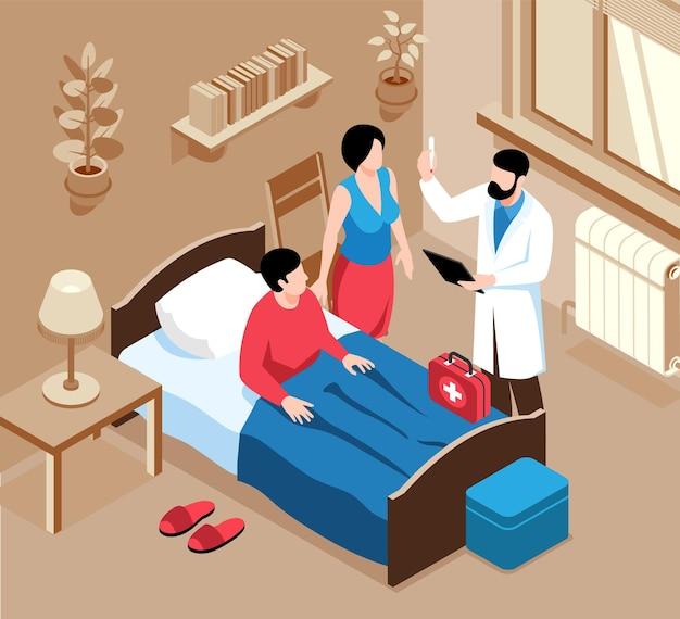 Izometryczny skład lekarza rodzinnego z wewnętrzną scenerią domowej sypialni ze specjalistą medycznym i ilustracją pudełka na lekarstwa