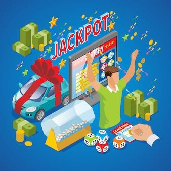 Izometryczny skład loterii ze zwycięzcą pieniądze monety samochód jackpot napis błyskawiczny bęben loterii tv loto piłki na białym tle