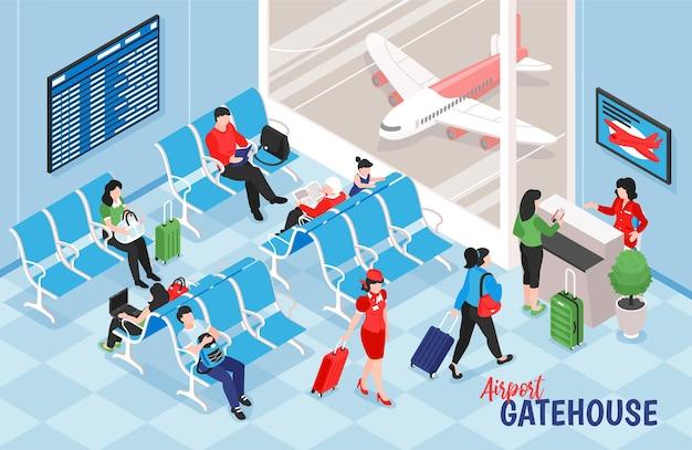 Izometryczny skład lotniska z widokiem wnętrza salonu ilustracji