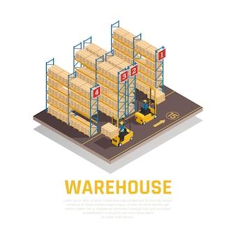 Izometryczny skład magazynu regałów z pudłami i pracownikami ładującymi ładunek za pomocą wózka widłowego