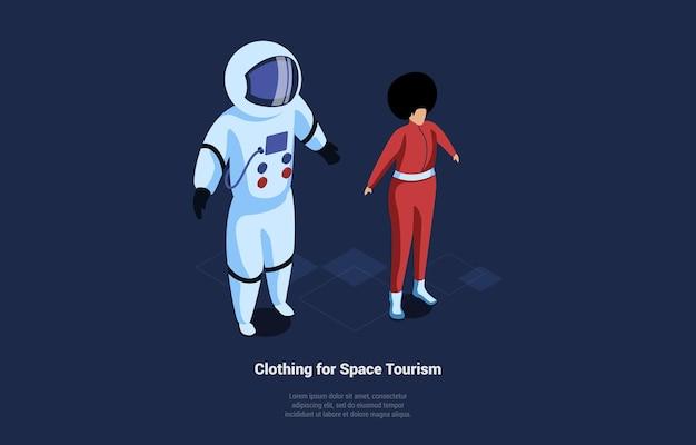 Izometryczny skład odzieży turystyki kosmicznej