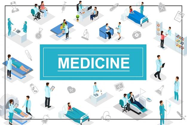 Izometryczny skład opieki zdrowotnej z lekarzami pacjentami konsultacje medyczne procedury diagnostyczne apteka laboratorium badania medyczne ikony