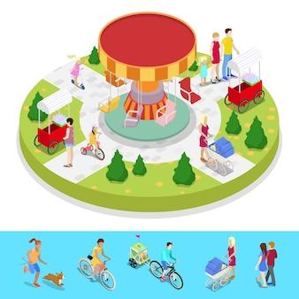 Izometryczny skład parku miejskiego z dziećmi