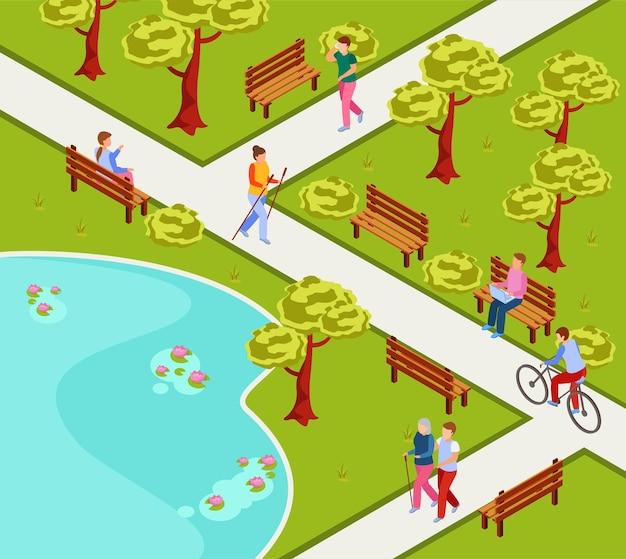 Izometryczny skład parku miejskiego z ludźmi, którzy nordic walking jeżdżą na rowerze, czytając na laptopie na ławce