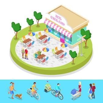 Izometryczny skład parku miejskiego z spacerującymi ludźmi