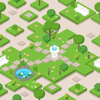Izometryczny skład parku z drzewami, fontanną i ławką