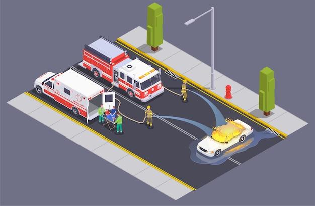 Izometryczny skład pogotowia ratunkowego z załogą strażaków na ulicy, gasząc płomień płonącego samochodu