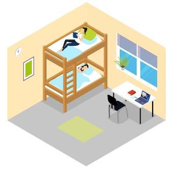 Izometryczny skład pokoju studenckiego