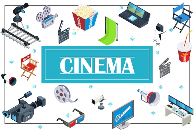 Izometryczny skład produkcji filmowej z kamerami popcorn soda reżyser krzesła megafon okulary 3d ekran clapperboard rolka filmowa sprzęt do nagrywania dźwięku hromakey