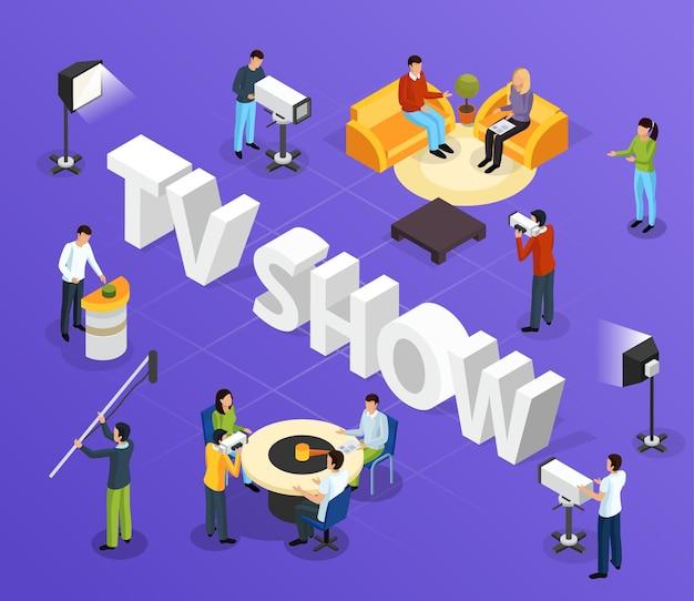 Izometryczny skład programu telewizyjnego quiz z nieporęcznym tekstem i ludzkimi postaciami pracowników i gości telewizyjnych