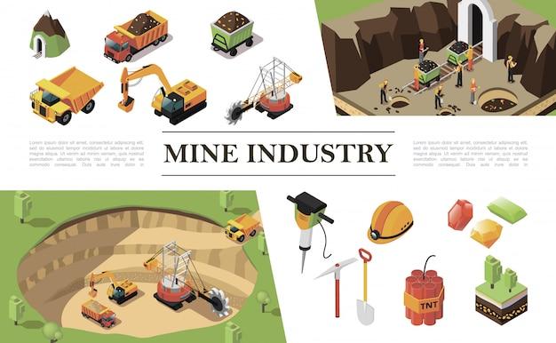 Izometryczny skład przemysłu wydobywczego z koparką maszynową do kamieniołomu pracownicy ciężkich ciężarówek kopalnia kamienie szlachetne wiertarka młotkowa kilof dynamit kask łopata drzewa