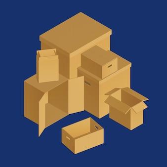 Izometryczny skład pudeł kartonowych z zestawem opakowań kartonowych
