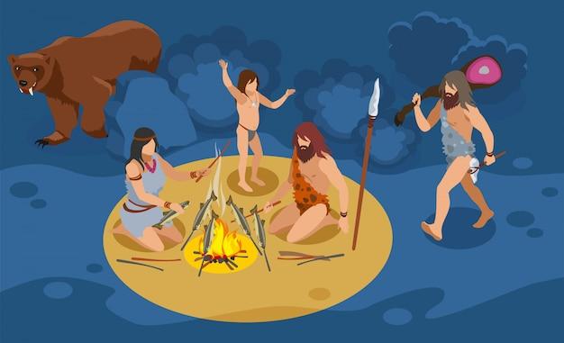 Izometryczny skład rodziny epoki kamienia z symbolami polowania i gotowania