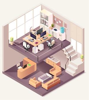Izometryczny skład różnych pięter biura