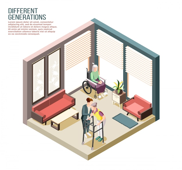 Izometryczny skład różnych pokoleń z dorosłą kobietą opiekującą się starszymi niepełnosprawnymi kobietami w domu opieki ilustraci