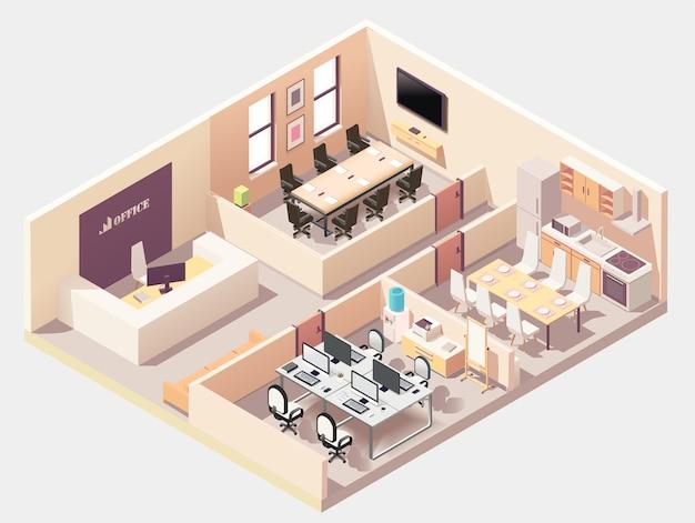 Izometryczny skład różnych pomieszczeń w biurze