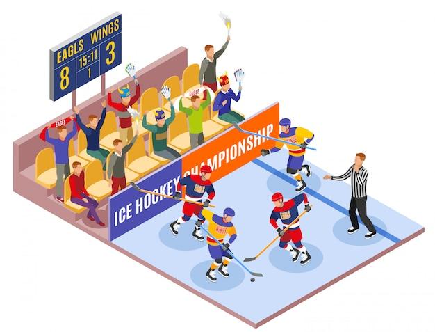 Izometryczny skład sportów zimowych ilustruje mistrzostwa hokeja na lodzie z zawodnikami na boisku i widzami w strefie kibica