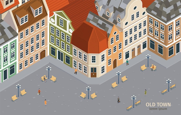Izometryczny skład starego miasta z różnymi domami w stylu retro ilustracji